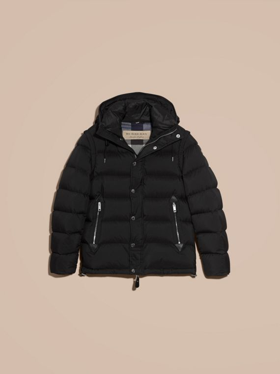 Down-filled Hooded Jacket with Detachable Sleeves in Black - cell image 3