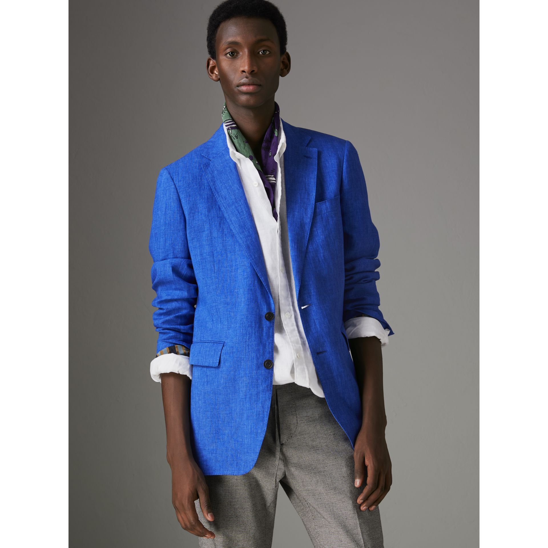 Soho Fit Linen Tailored Jacket in Violet Blue - Men | Burberry Australia - gallery image 6
