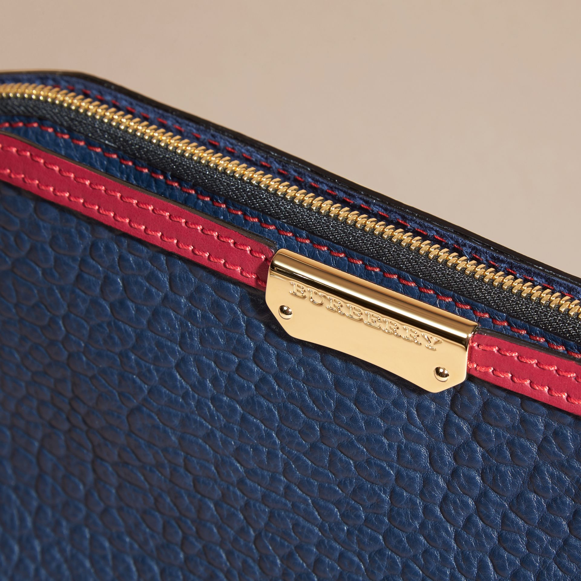 Blue carbon/parade red Small Contrast Border Grainy Leather Clutch Bag - gallery image 2