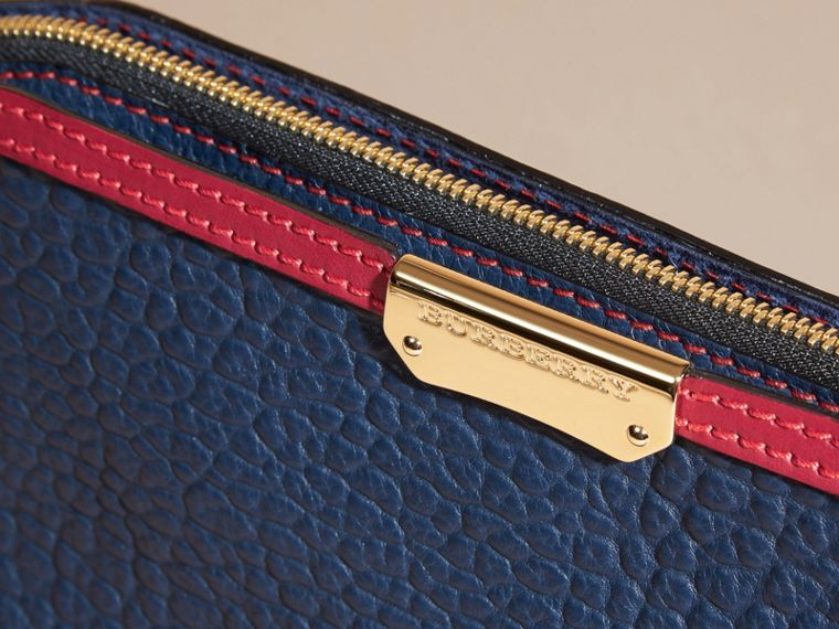 Blue carbon/parade red Small Contrast Border Grainy Leather Clutch Bag - cell image 1