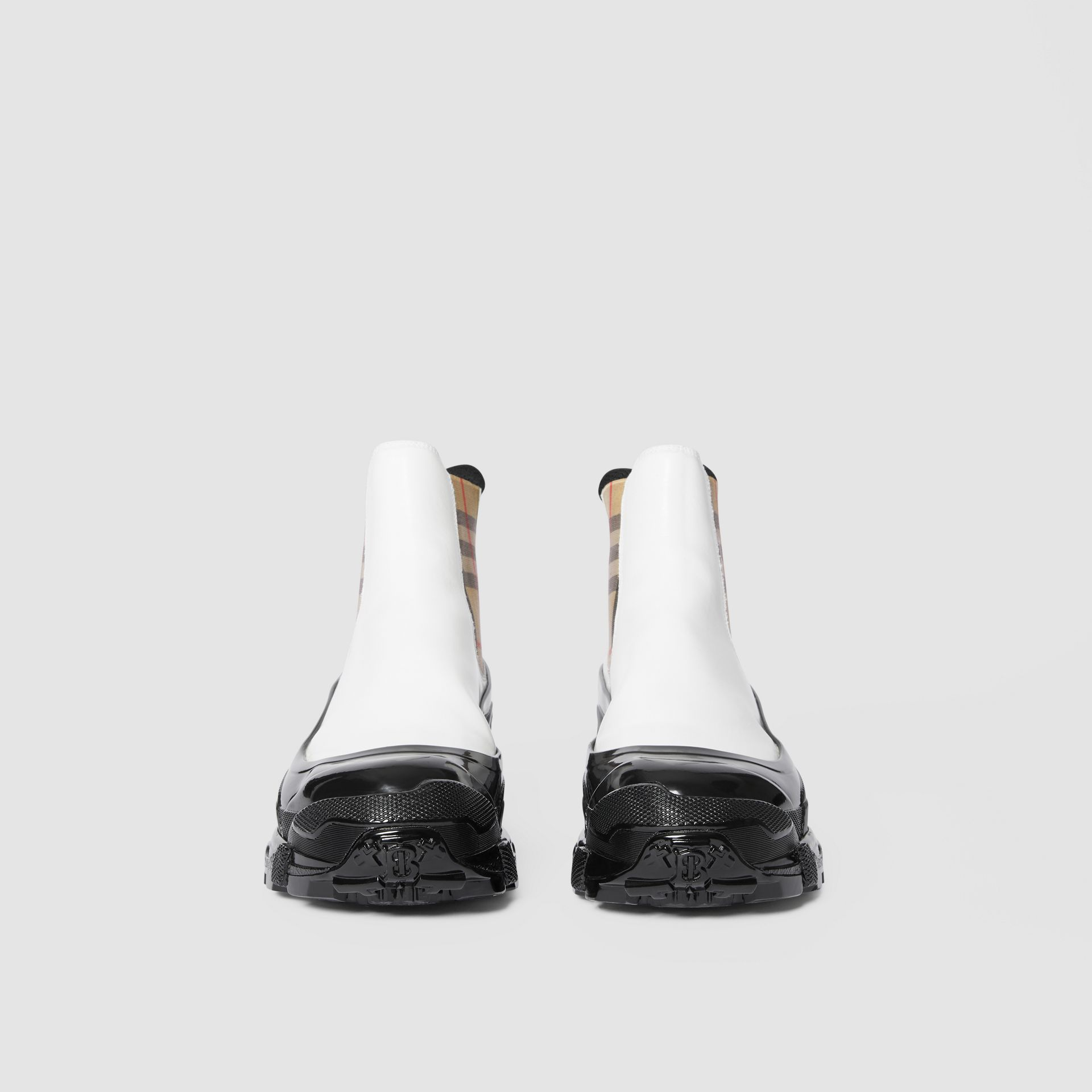 Vintage Check Detail Coated Canvas Chelsea Boots in White / Archive Beige - Women | Burberry Australia - gallery image 3