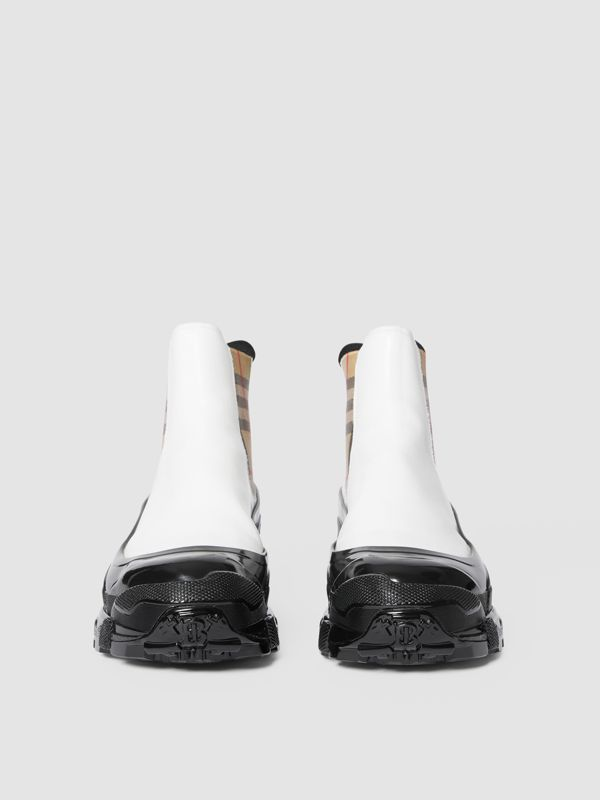 Vintage Check Detail Coated Canvas Chelsea Boots in White / Archive Beige - Women | Burberry United Kingdom - cell image 3