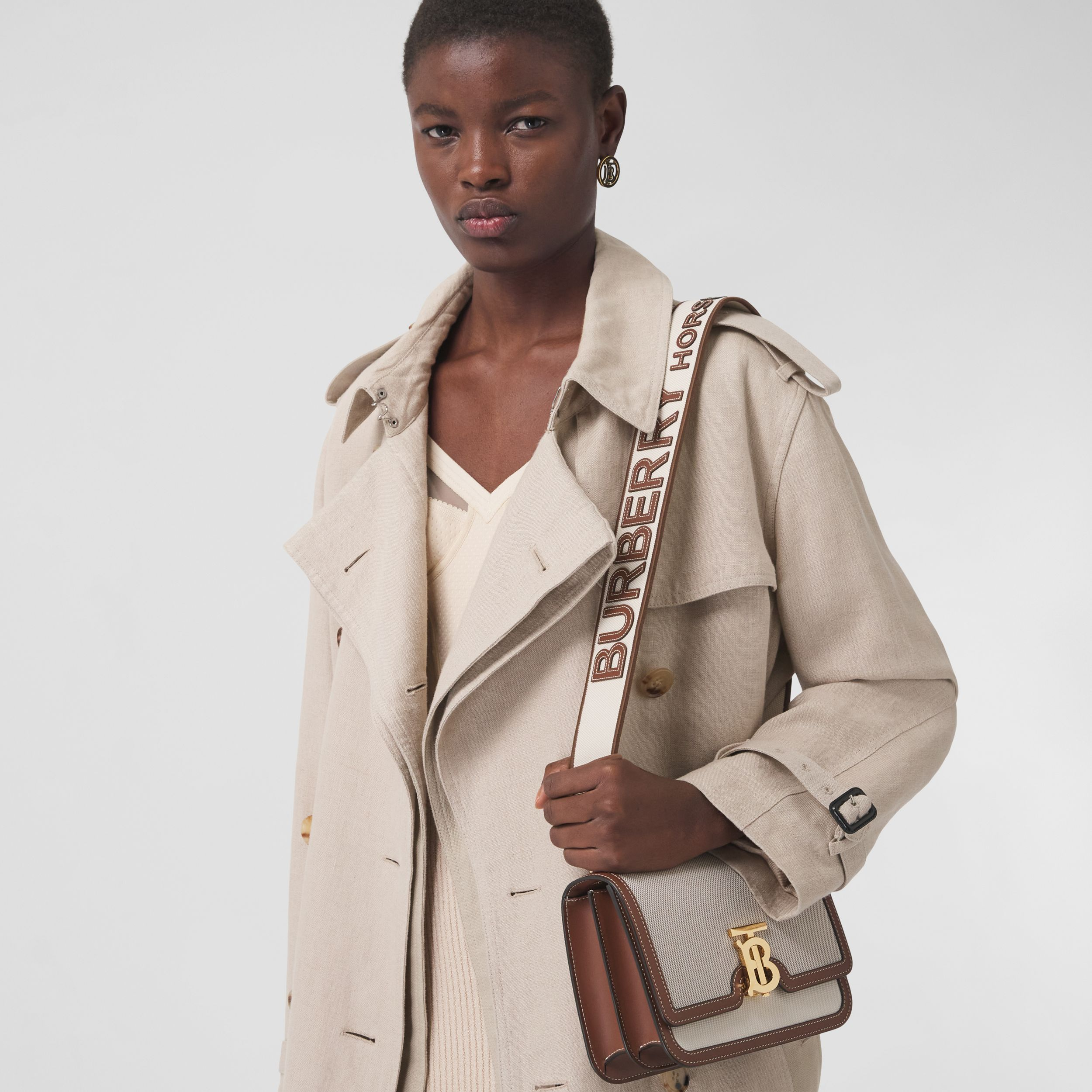 Small Cotton Canvas and Leather TB Bag in Soft Fawn/ecru - Women | Burberry Singapore - 3