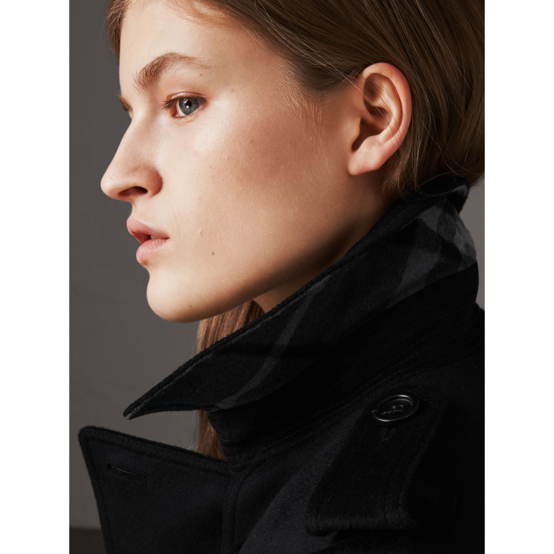 Wool Cashmere Trench Coat with Fur Collar in Black - Women | Burberry Canada - gallery image 5