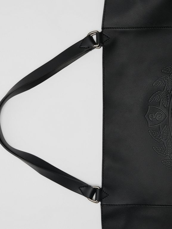 Large Embossed Crest Bonded Leather Tote in Black - Men | Burberry - cell image 1