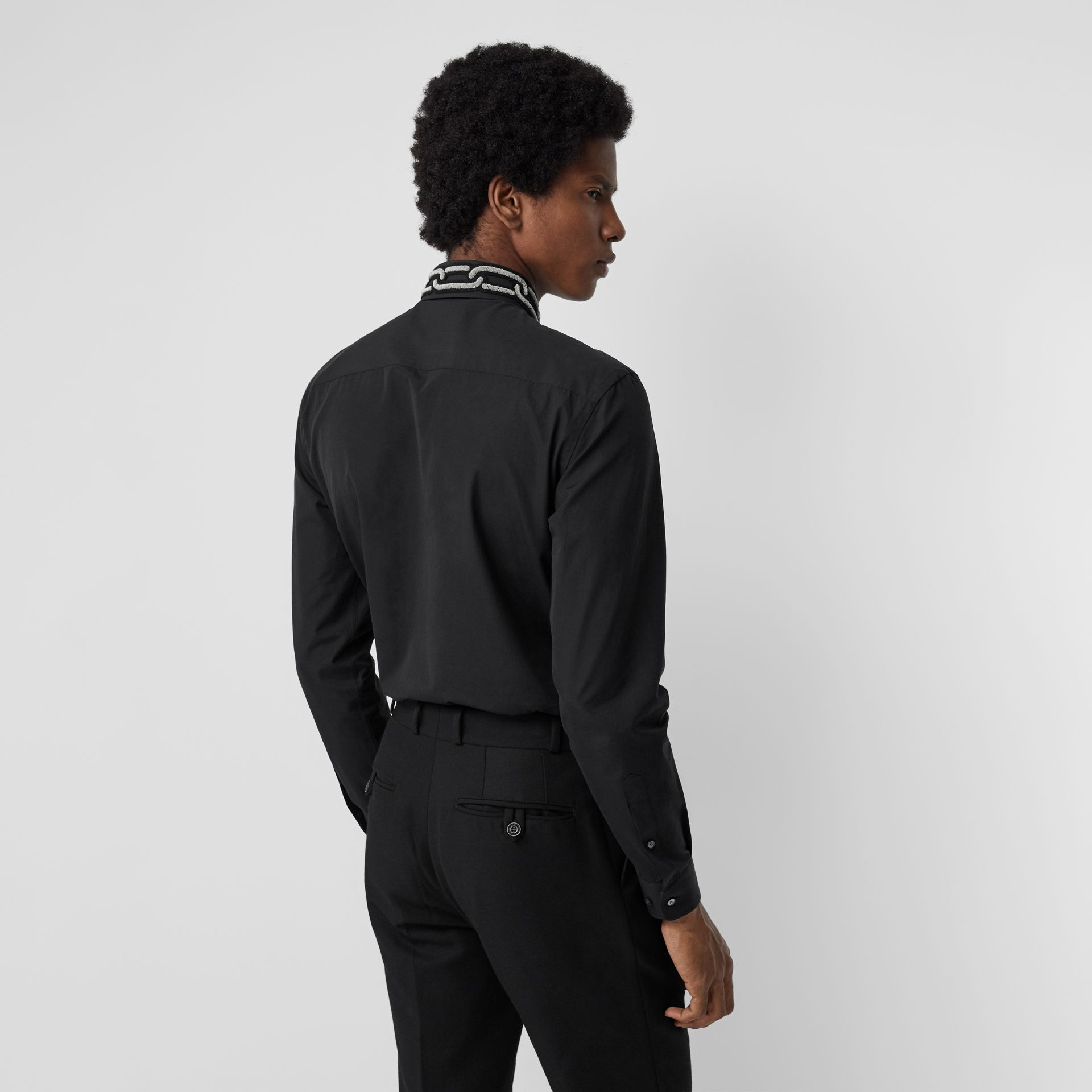 Slim Fit Bullion Link Cotton Poplin Dress Shirt in Black - Men | Burberry - gallery image 2