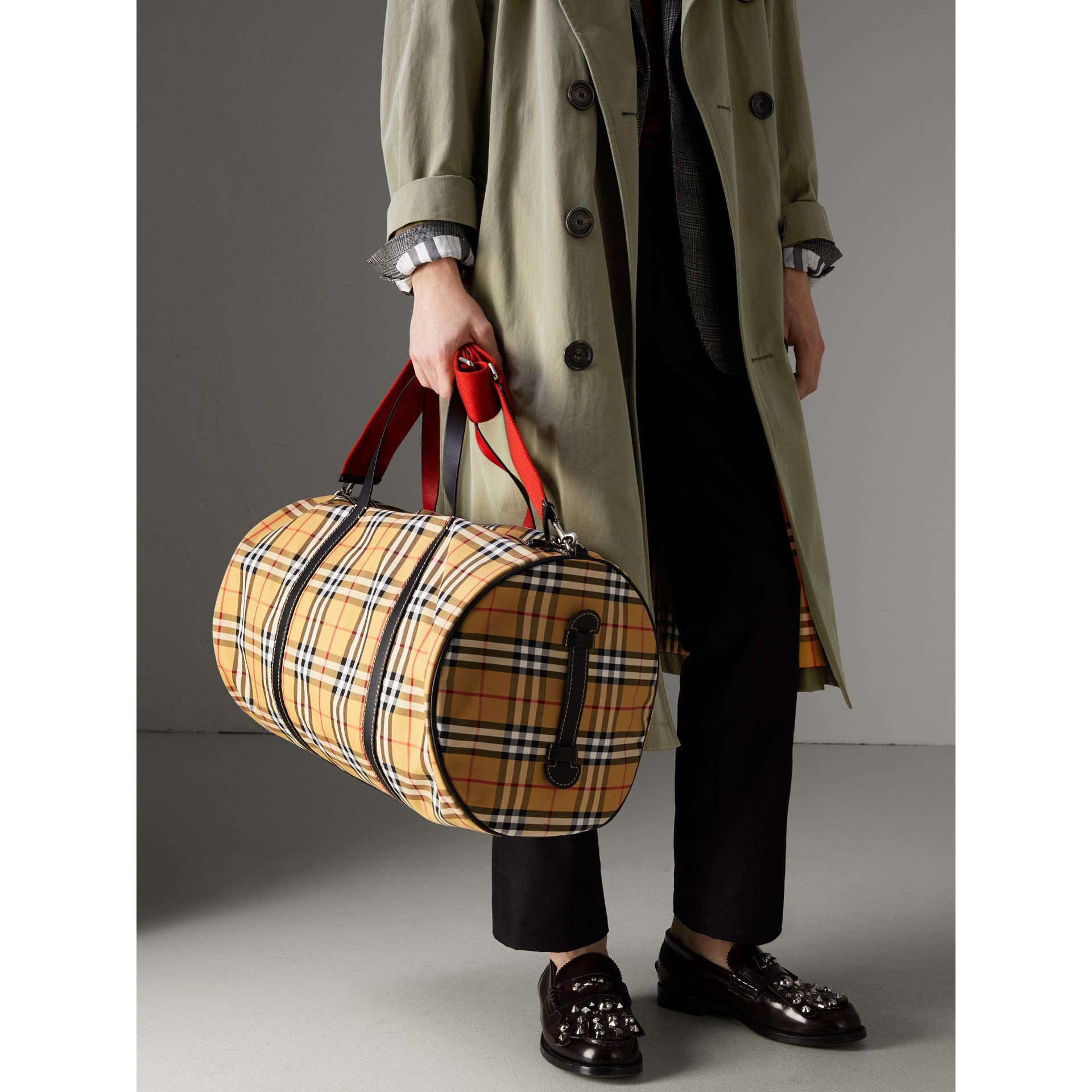 Large Vintage Check and Leather Barrel Bag in Military Red - Men | Burberry Australia - gallery image 3