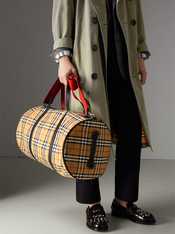 Large Vintage Check and Leather Barrel Bag in Military Red - Men | Burberry Australia - cell image 3