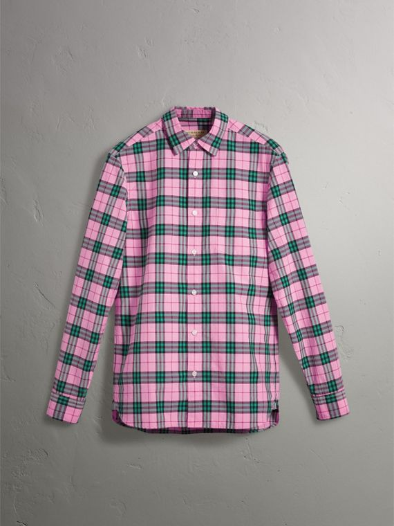 Check Cotton Shirt in Bright Coral Pink