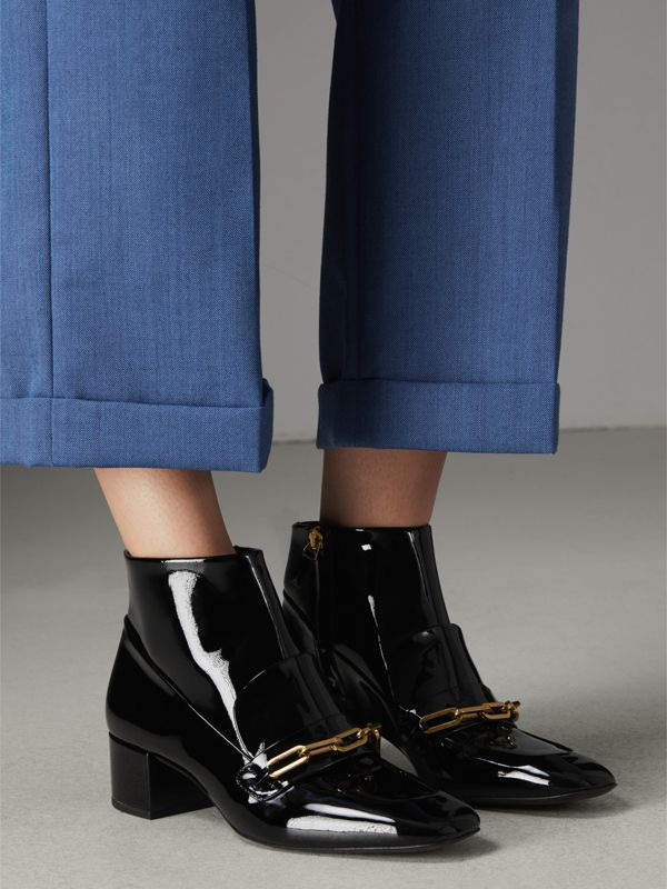 Link Detail Patent Leather Ankle Boots in Black - Women | Burberry - cell image 2