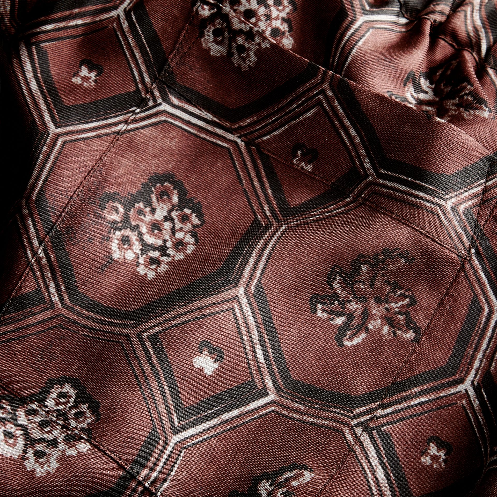 Geometric Wallpaper Print Silk Twill Cropped Pyjama-style Trousers Deep Claret - gallery image 2
