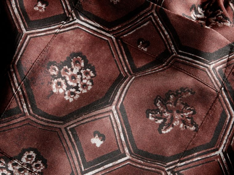 Geometric Wallpaper Print Silk Twill Cropped Pyjama-style Trousers Deep Claret - cell image 1