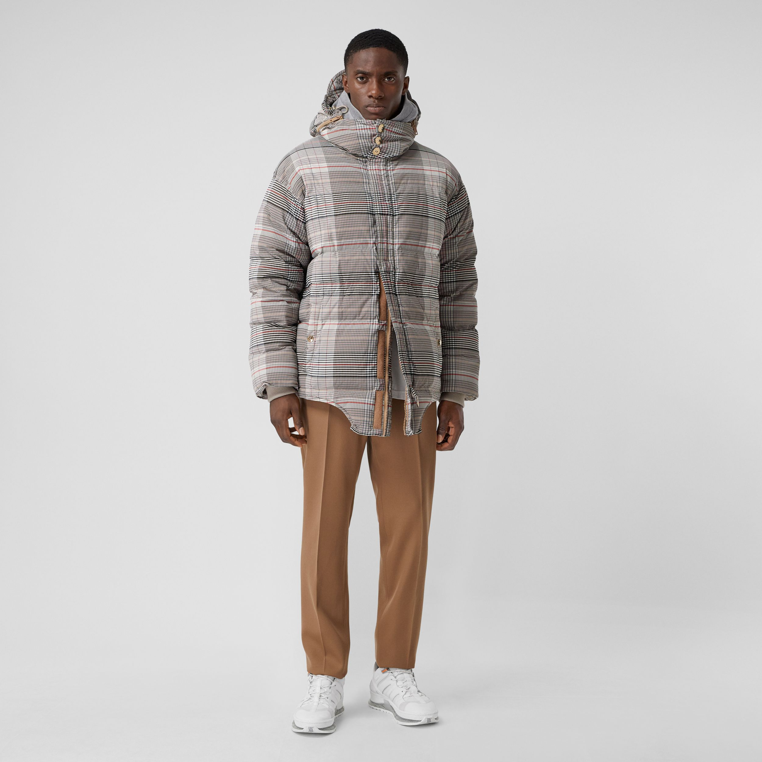 Cut-out Hem Check Nylon Twill Puffer Jacket in Beige | Burberry - 1
