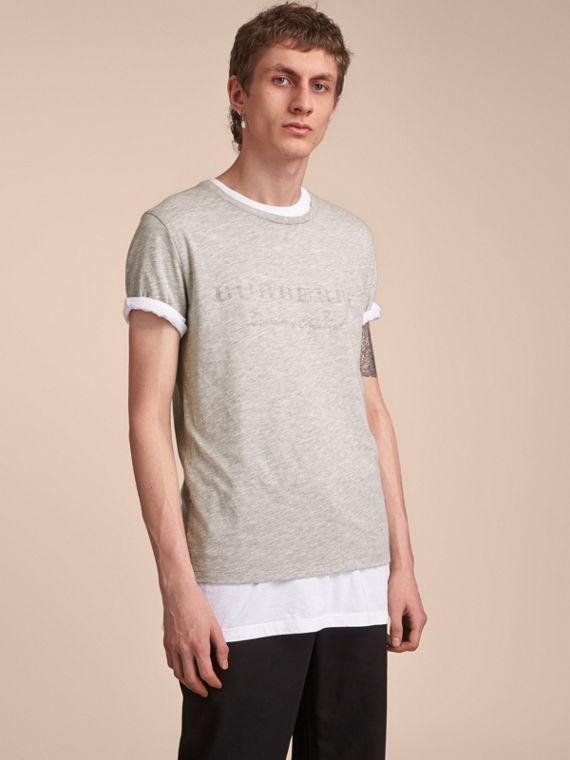 Contrast Motif Cotton Blend T-shirt Pale Grey Melange