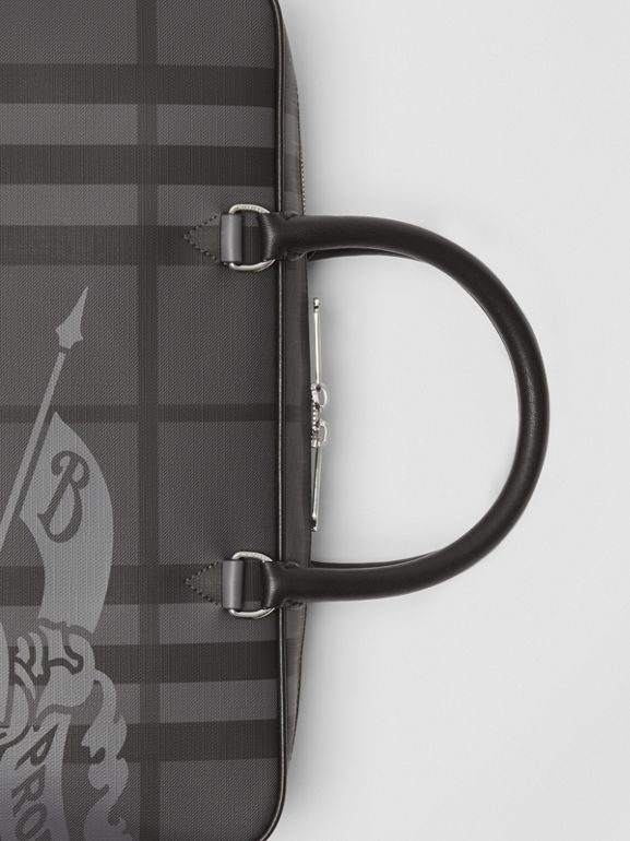 Attaché-case en cuir à motif London check et emblème du Cavalier (Anthracite/noir) - Homme | Burberry Canada - cell image 1