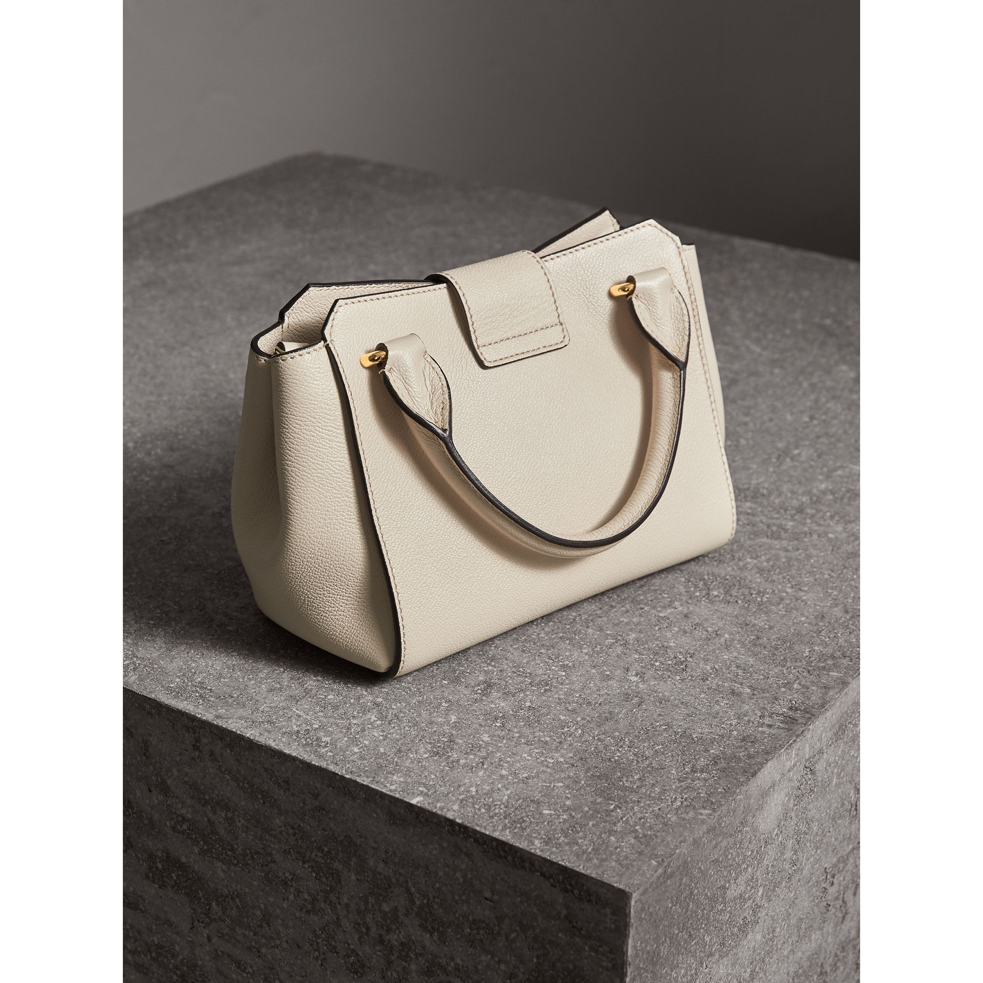 The Small Buckle Tote in Grainy Leather in Limestone - Women | Burberry Australia - gallery image 4