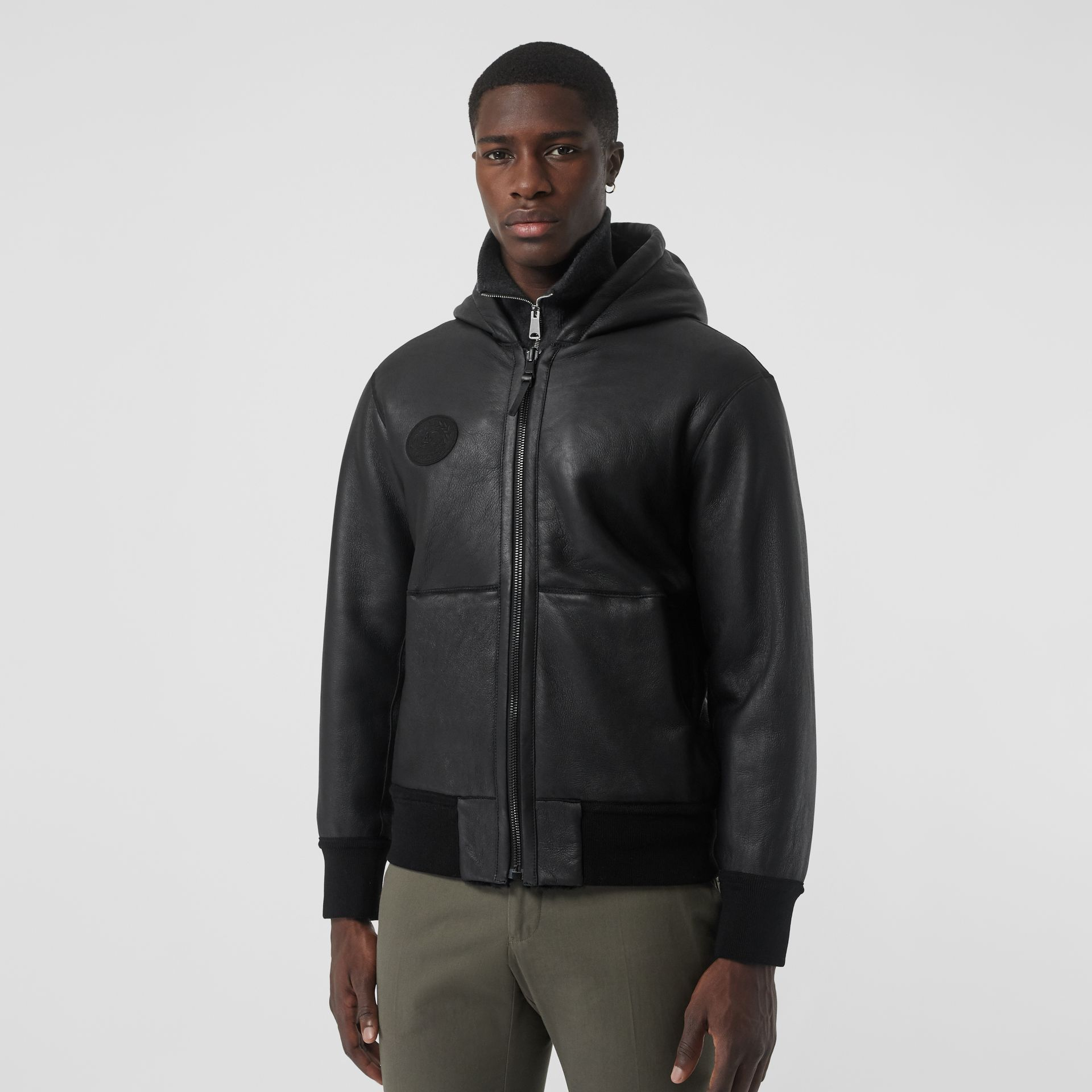 Reversible Shearling Hooded Bomber Jacket in Black - Men | Burberry United Kingdom - gallery image 5