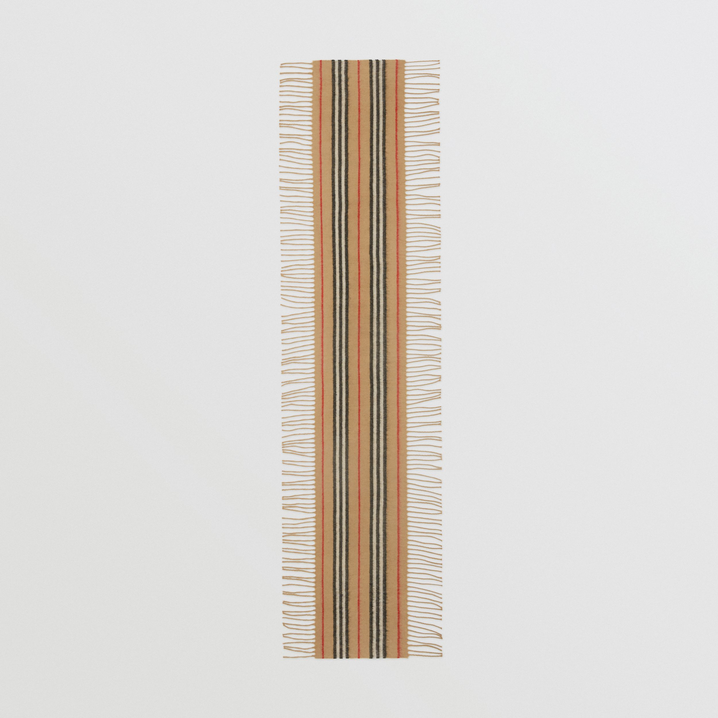 Fringed Icon Stripe Cashmere Scarf in Archive Beige - Children | Burberry - 3