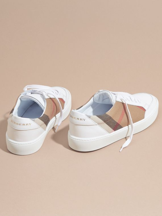 House check/ optic white Check Detail Leather Sneakers House Check/ Optic White - cell image 3