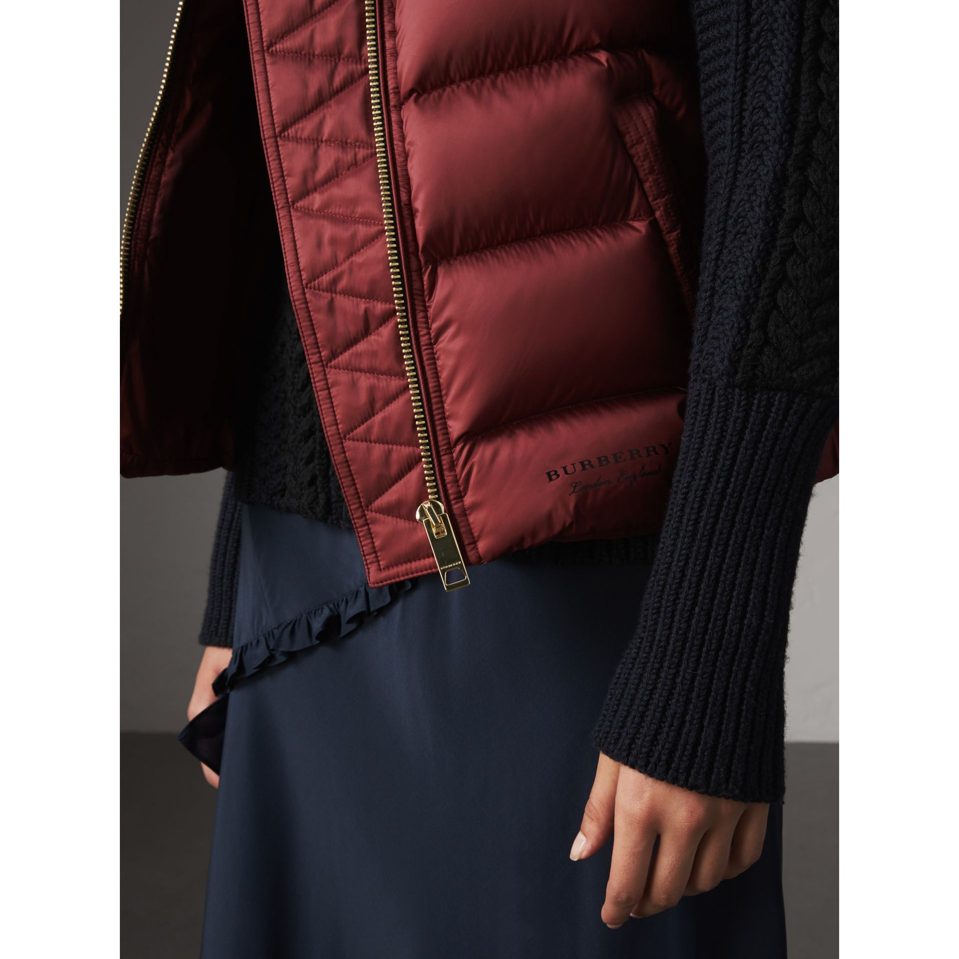 Down-filled Gilet in Military Red - Women | Burberry - gallery image 2