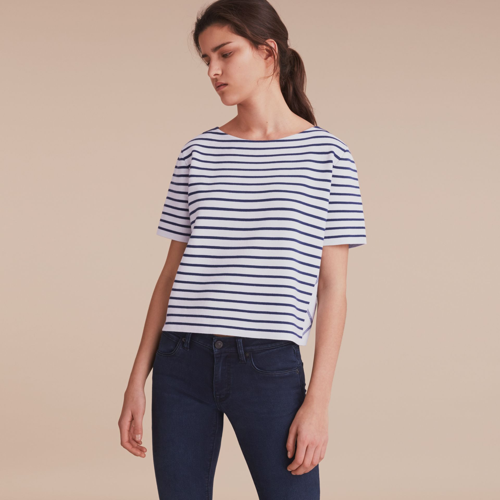 Check and Stripe Wool Blend T-shirt Bright Navy - gallery image 6