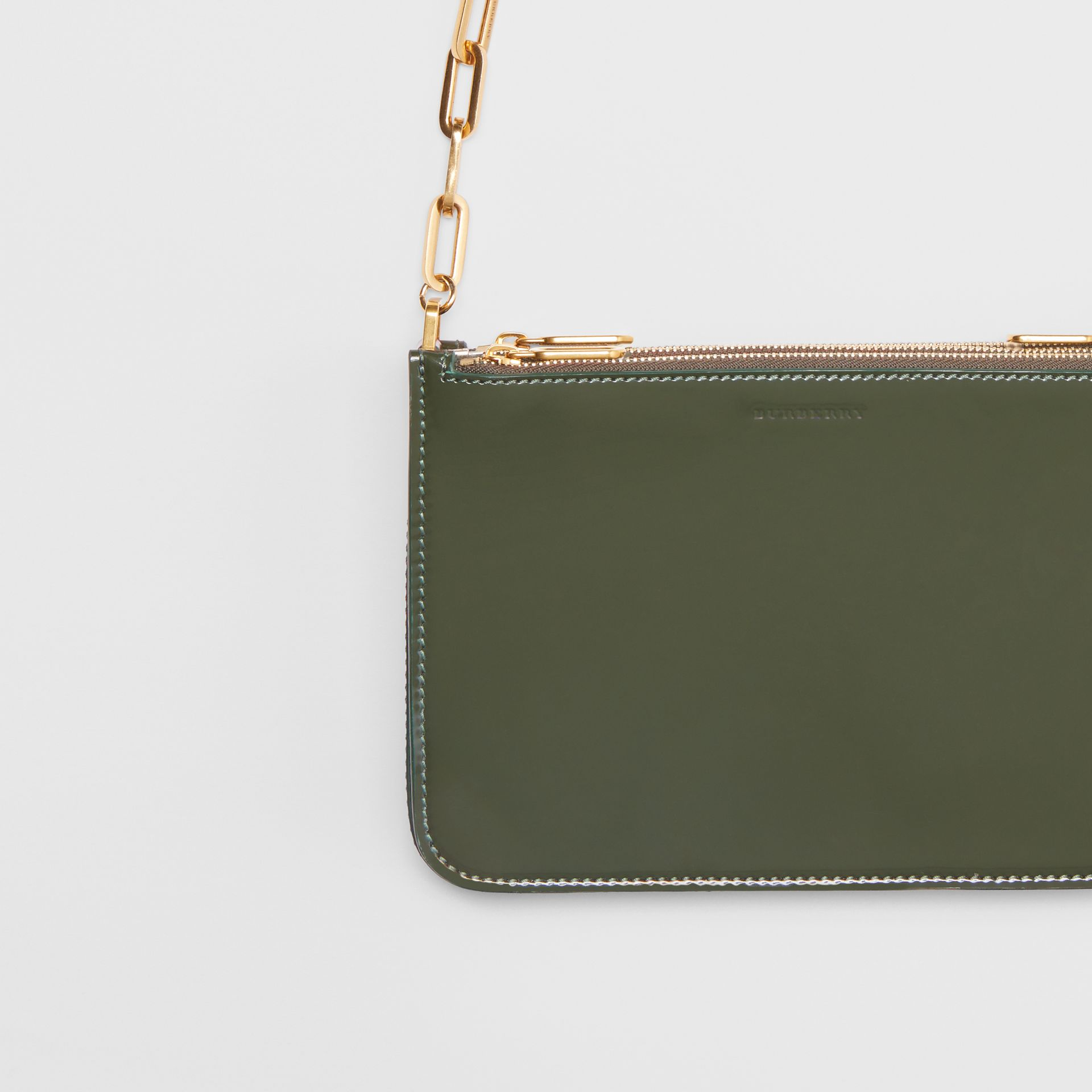 Triple Zip Patent Leather Crossbody Bag in Dark Forest Green - Women | Burberry United States - gallery image 1