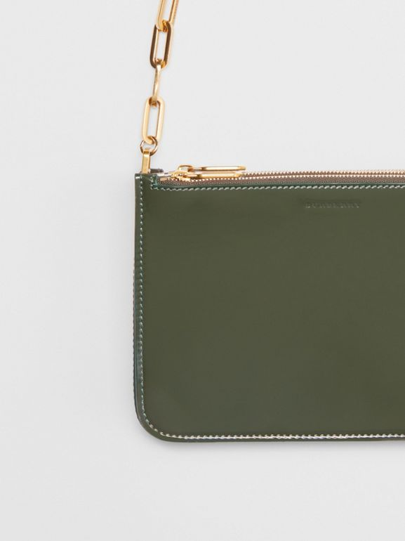 Triple Zip Patent Leather Crossbody Bag in Dark Forest Green - Women | Burberry United States - cell image 1