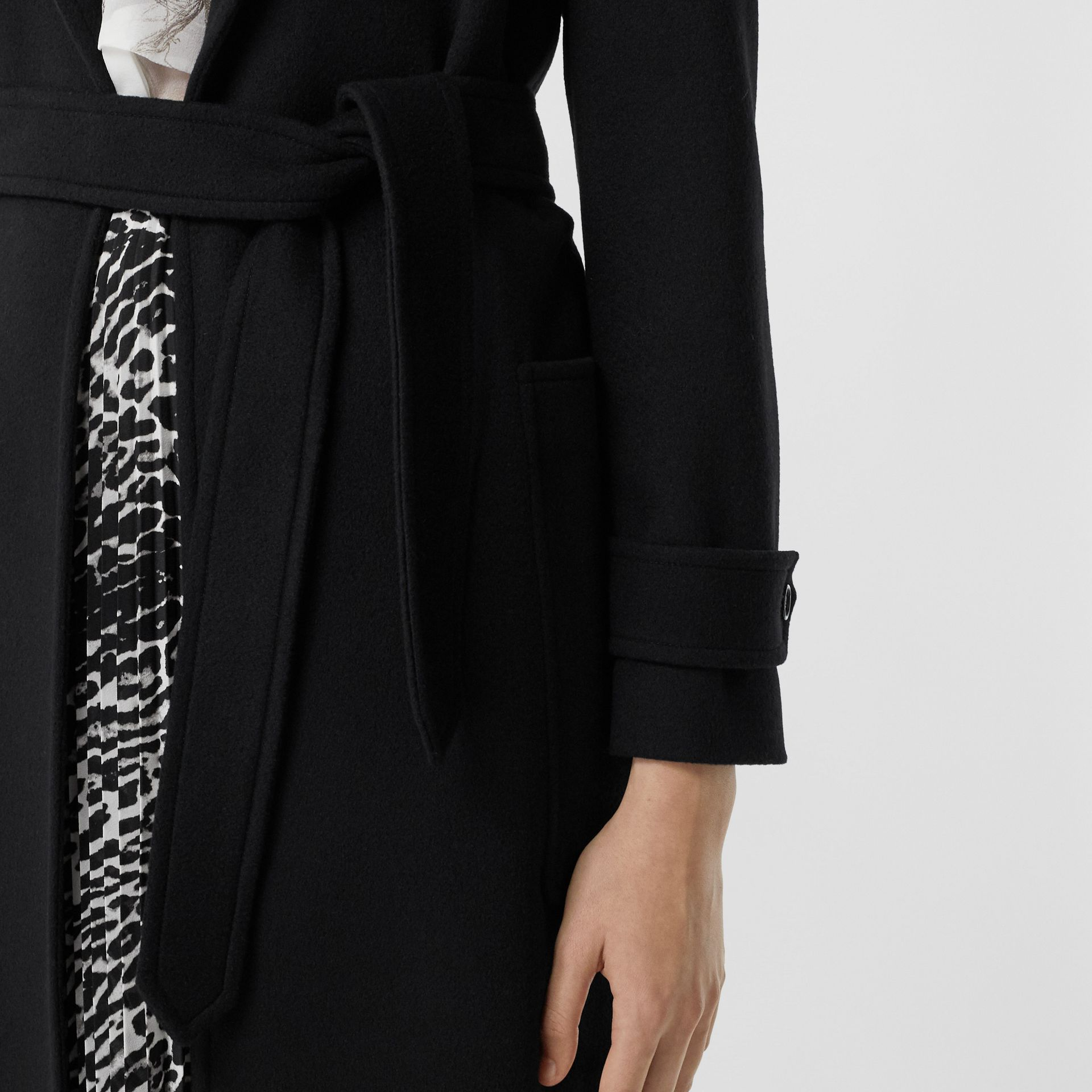 Cashmere Wrap Coat in Black - Women | Burberry - gallery image 4