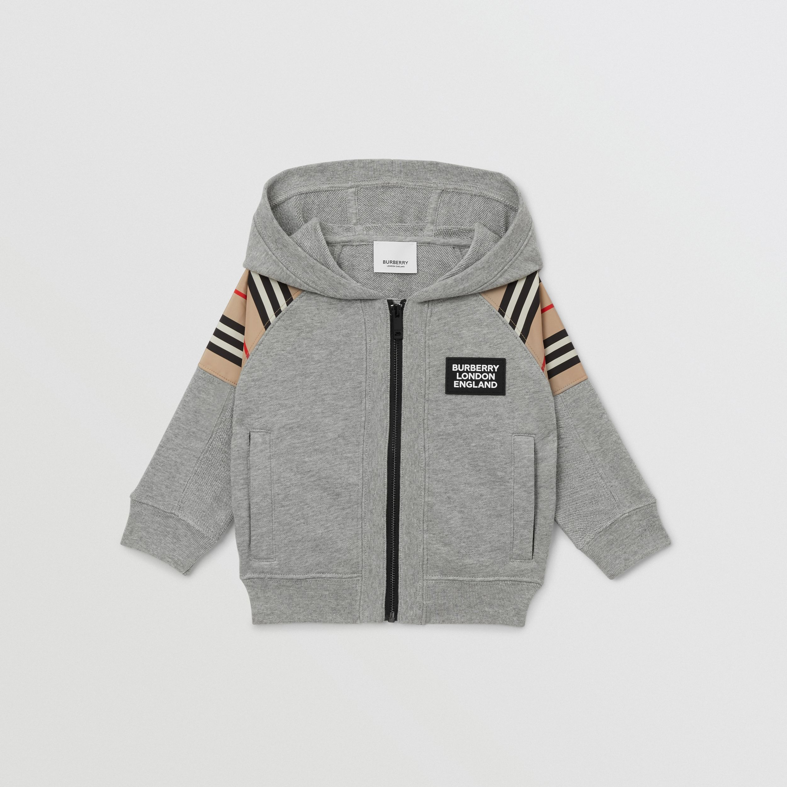 Icon Stripe Panel Cotton Hooded Top - Children | Burberry United Kingdom - 1