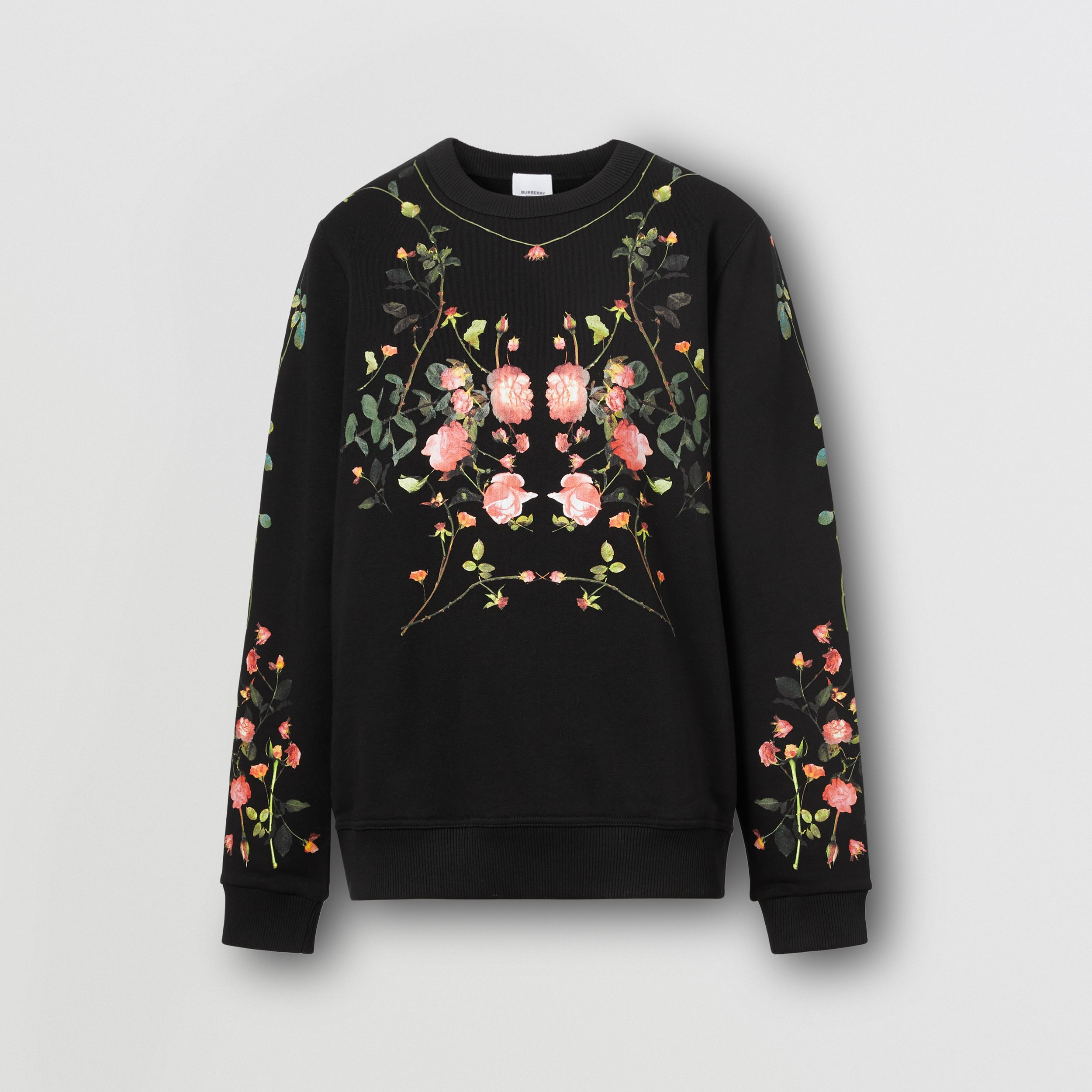 Rose Print Cotton Oversized Sweatshirt in Black - Women | Burberry - 4