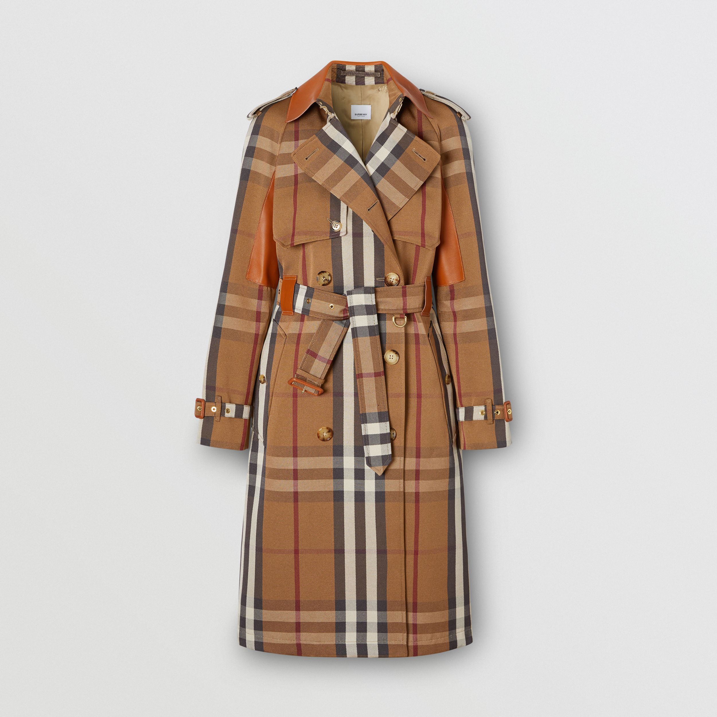Leather Panel Check Technical Cotton Trench Coat in Birch Brown - Women | Burberry Canada - 1