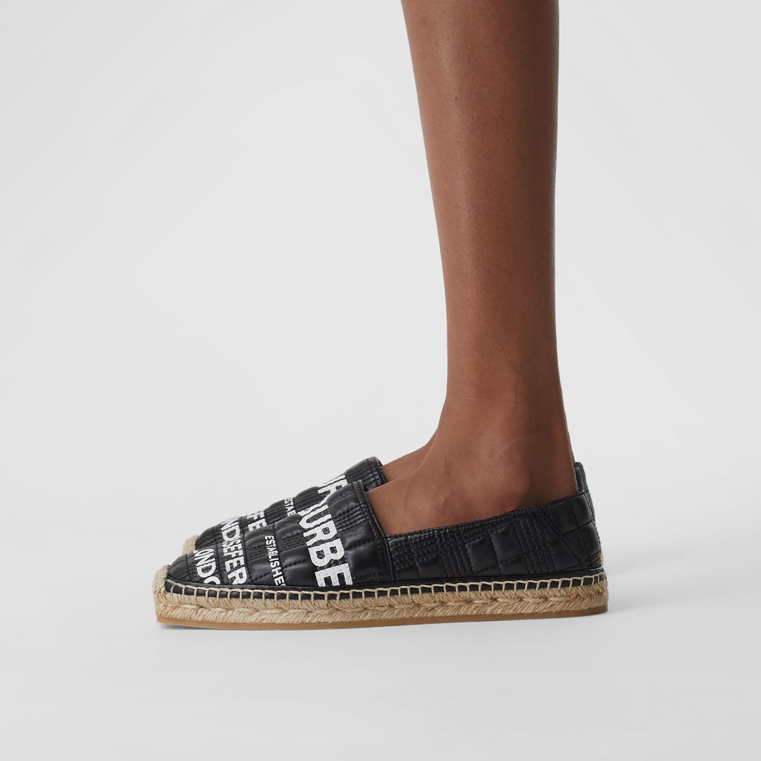 Horseferry Print Quilted Leather Espadrilles in Black - Women | Burberry - 3