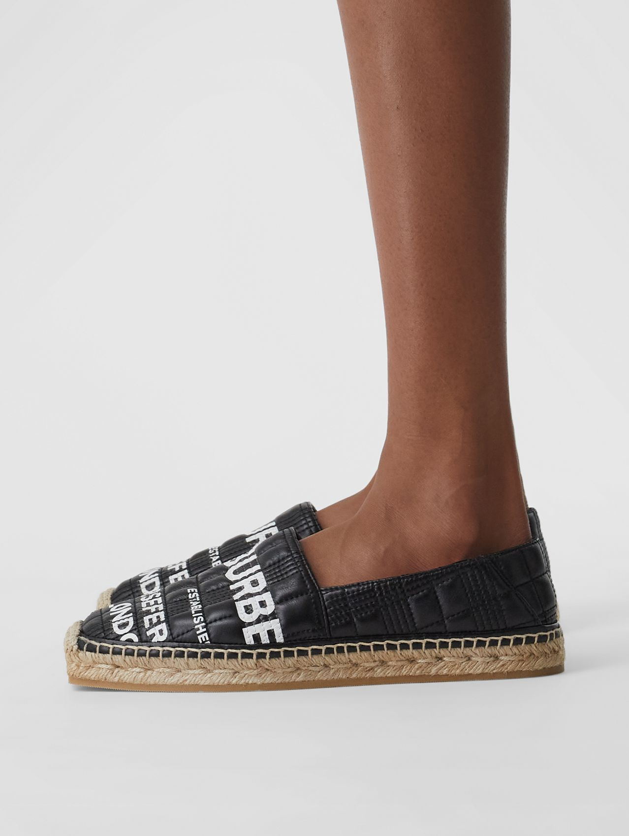 Horseferry Print Quilted Leather Espadrilles in Black