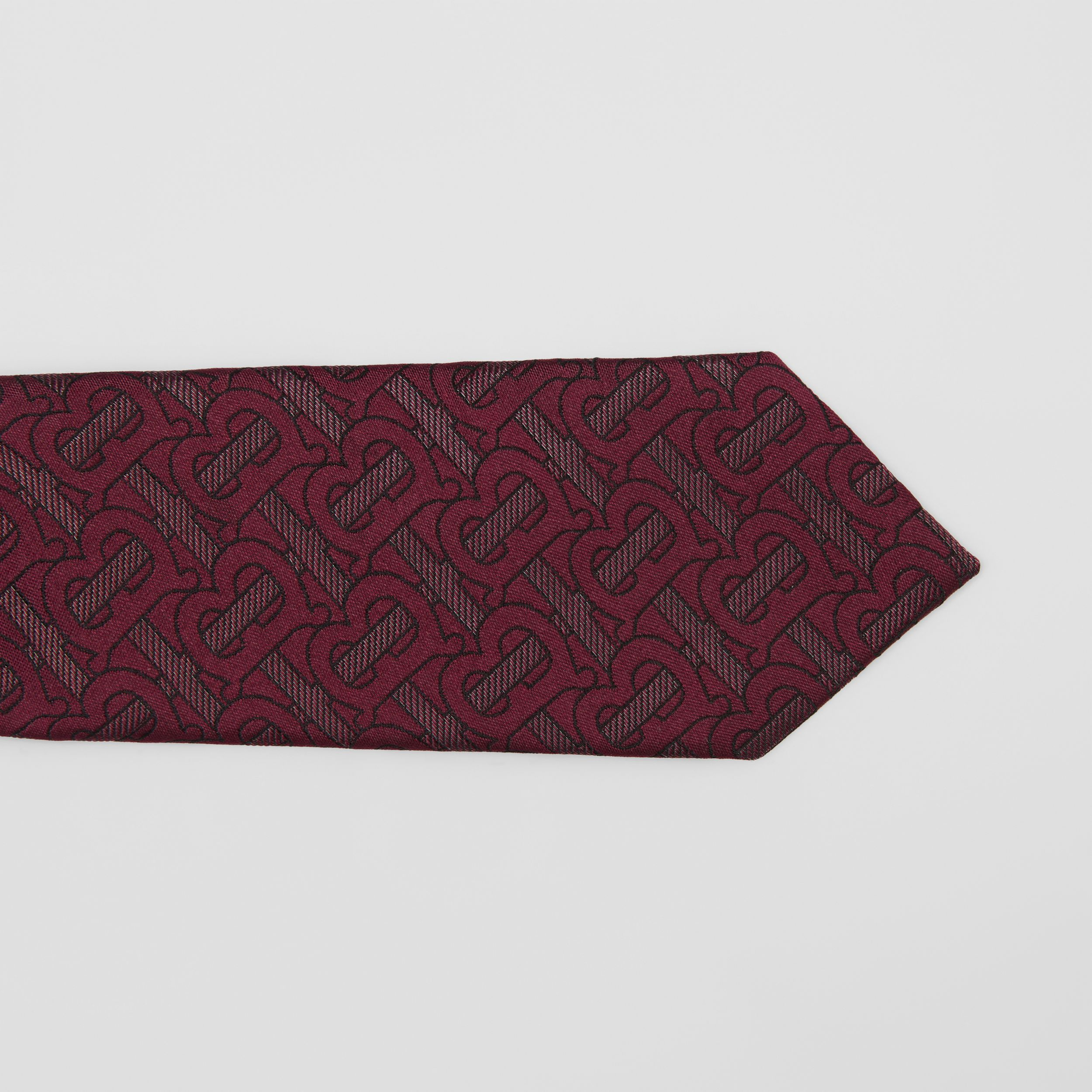 Classic Cut Monogram Silk Blend Jacquard Tie in Burgundy - Men | Burberry Australia - 2