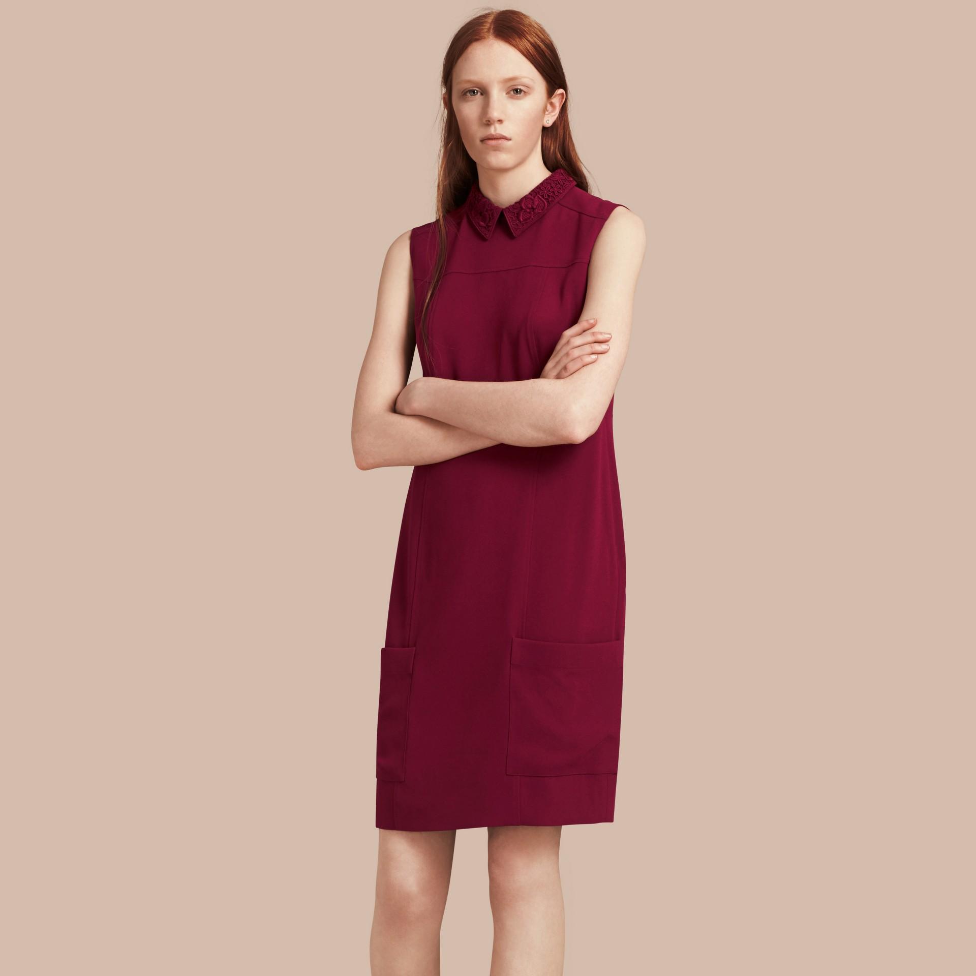 Dark crimson Sleeveless Lace Collar Dress - gallery image 6
