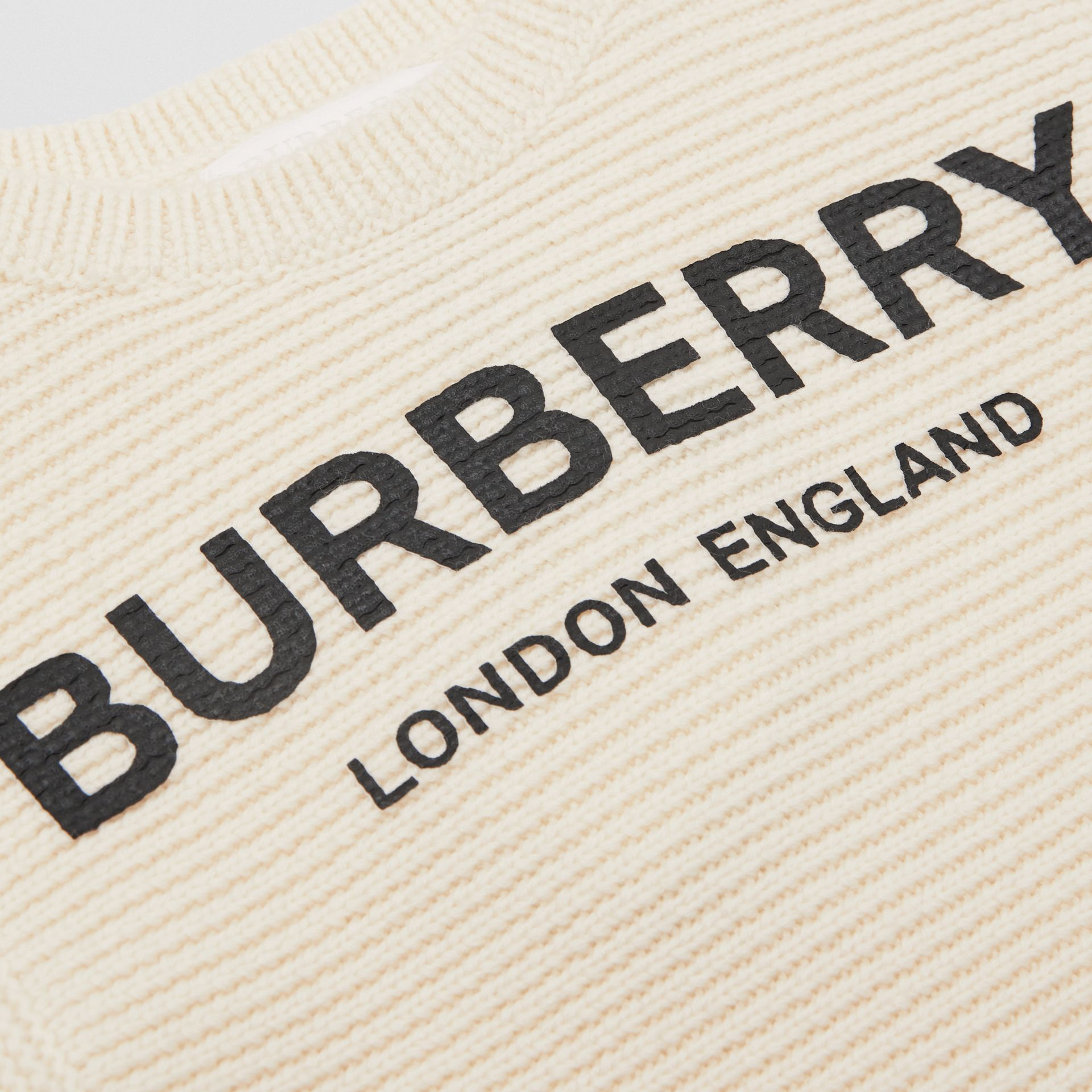 Logo Print Rib Knit Merino Wool Sweater Dress in Ivory - Children | Burberry Canada - gallery image 1