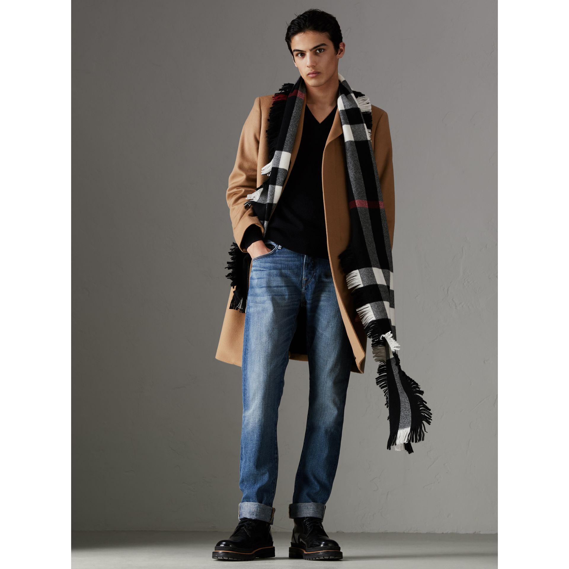 Fringed Check Wool Scarf in Black | Burberry United Kingdom - gallery image 3