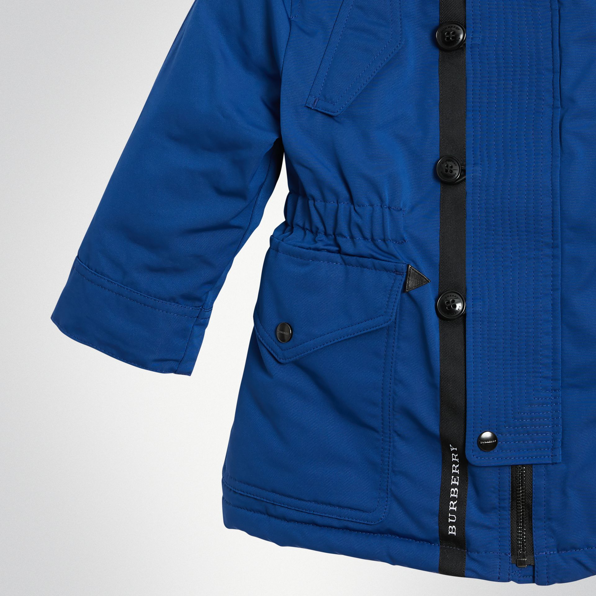 Detachable Hood Down-filled Parka Coat in Bright Cobalt | Burberry - gallery image 4