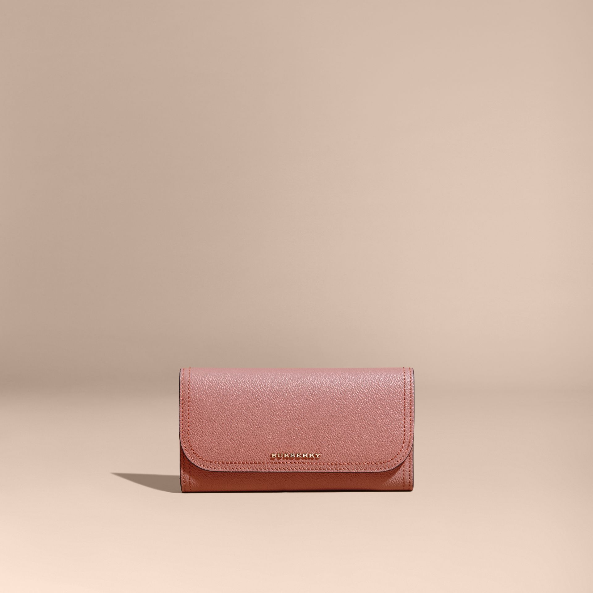 Grainy Leather Slim Continental Wallet in Dusty Pink - Women | Burberry - gallery image 7