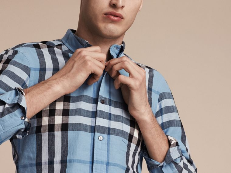 Button-down Collar Check Linen Cotton Shirt Pale Blue - cell image 4