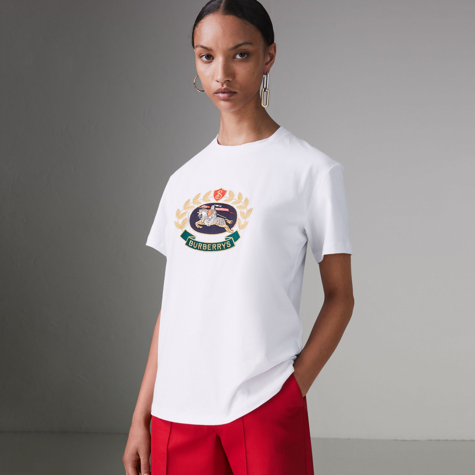 Embroidered Archive Logo Cotton T-shirt in White - Women | Burberry - gallery image 0