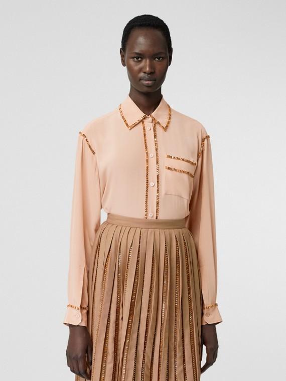 水晶細節設計絲質寬版襯衫 (駝色)