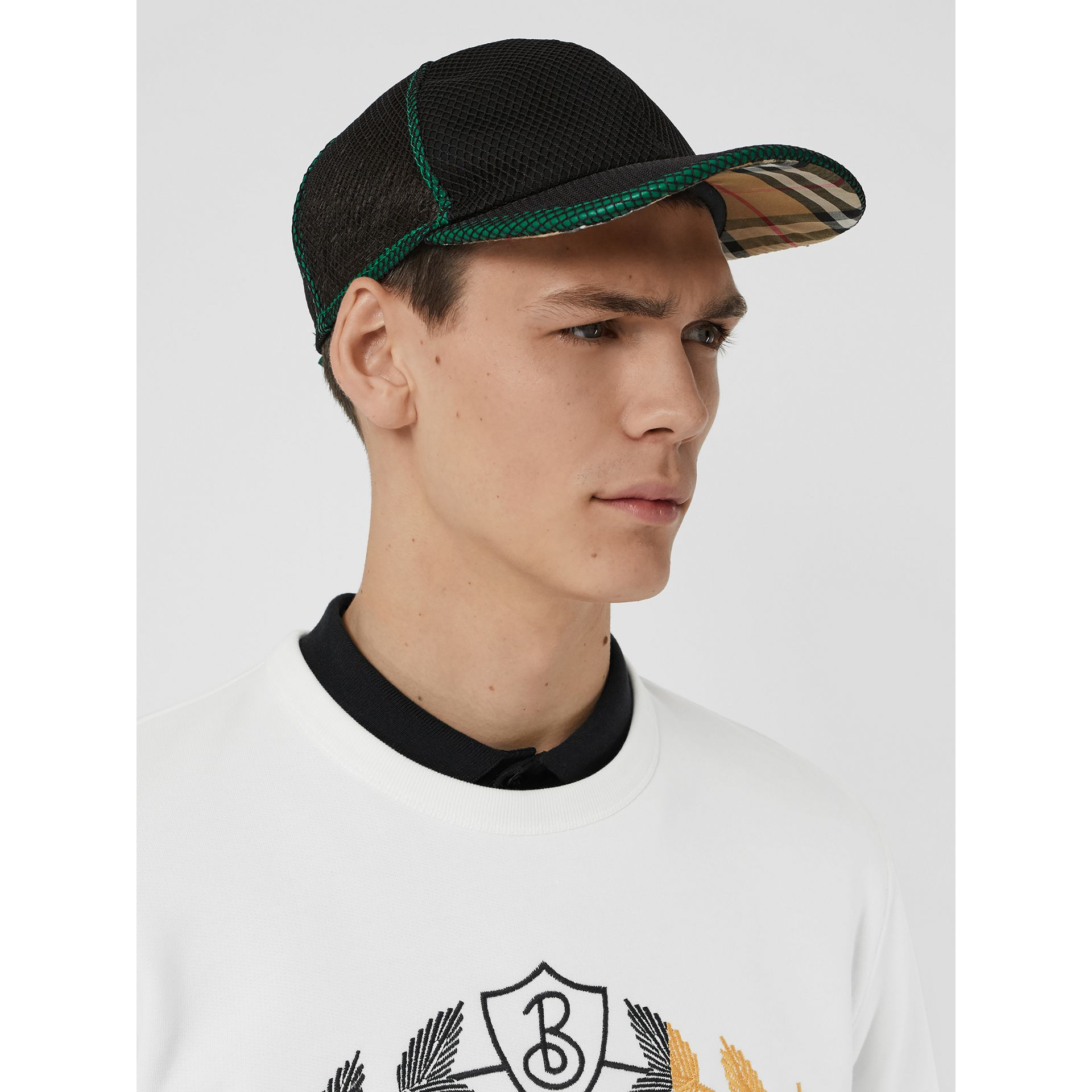Vintage Check and Mesh Baseball Cap in Black | Burberry - gallery image 3