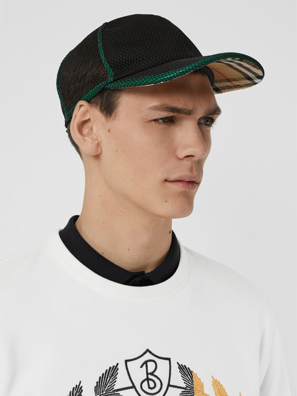 Berretto da baseball in rete con motivo Vintage check (Nero) | Burberry - cell image 3