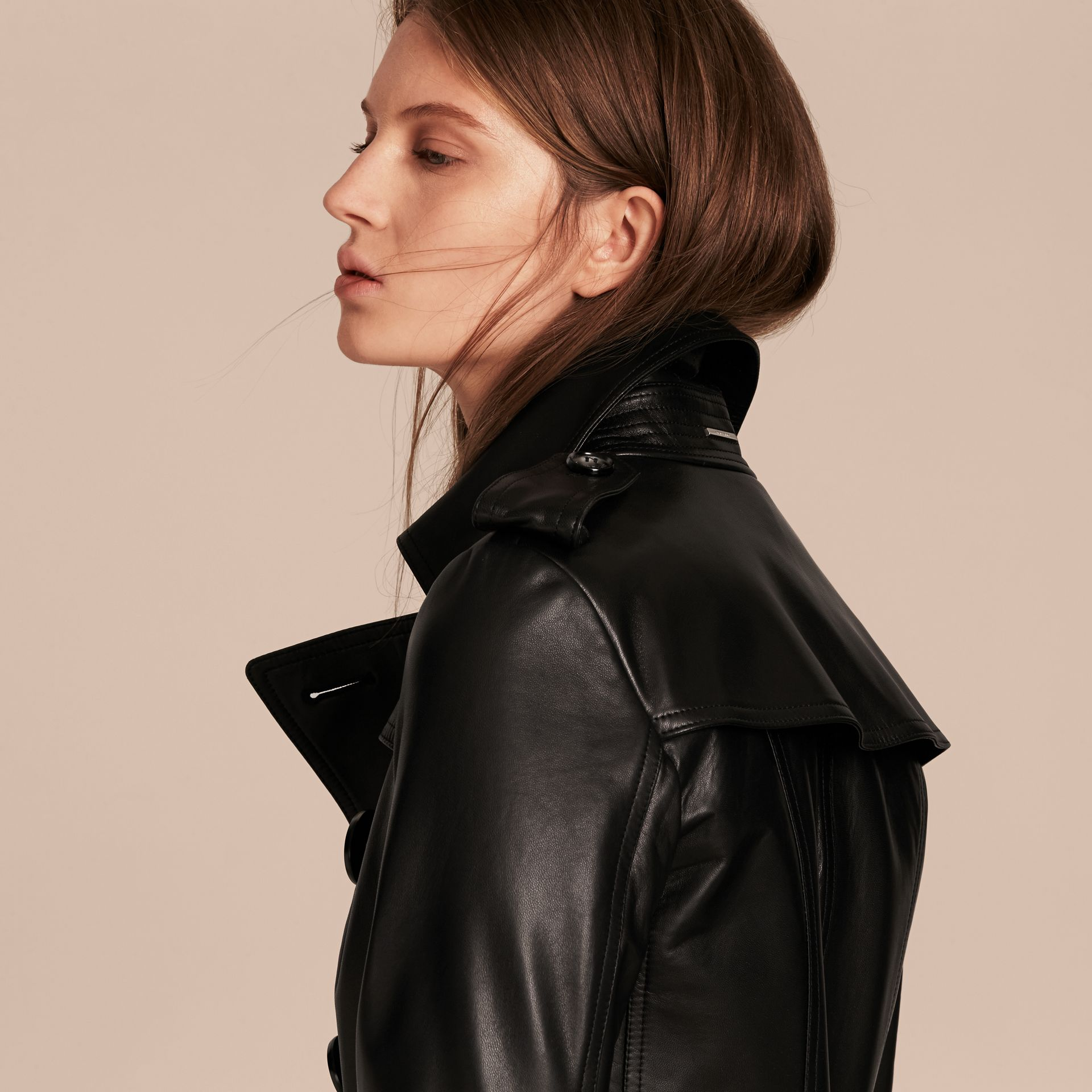 Black Lambksin Trench Jacket - gallery image 5