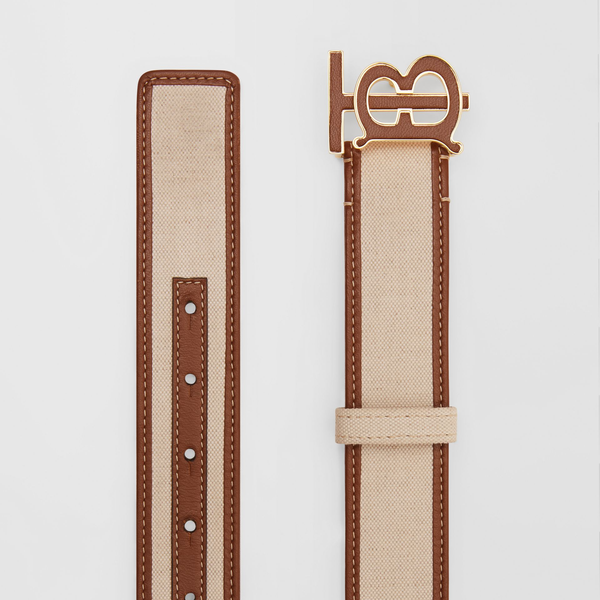 Monogram Motif Canvas and Leather Belt in Natural - Women | Burberry United Kingdom - gallery image 4