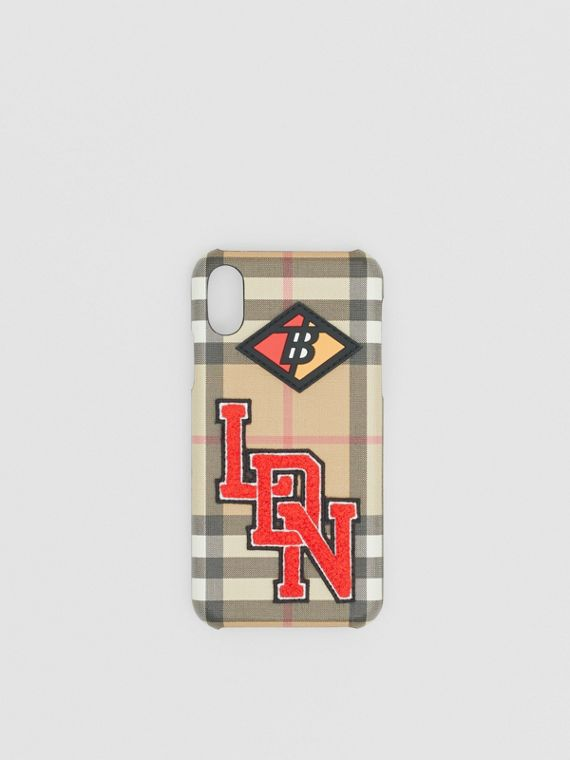 Logo Graphic Vintage Check iPhone X/XS Case in Archive Beige