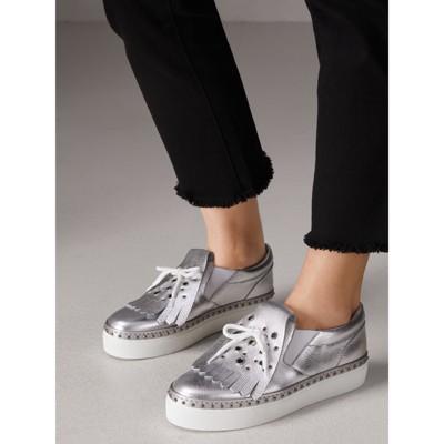 Burberry - Sneakers en cuir métallisé à franges - 3