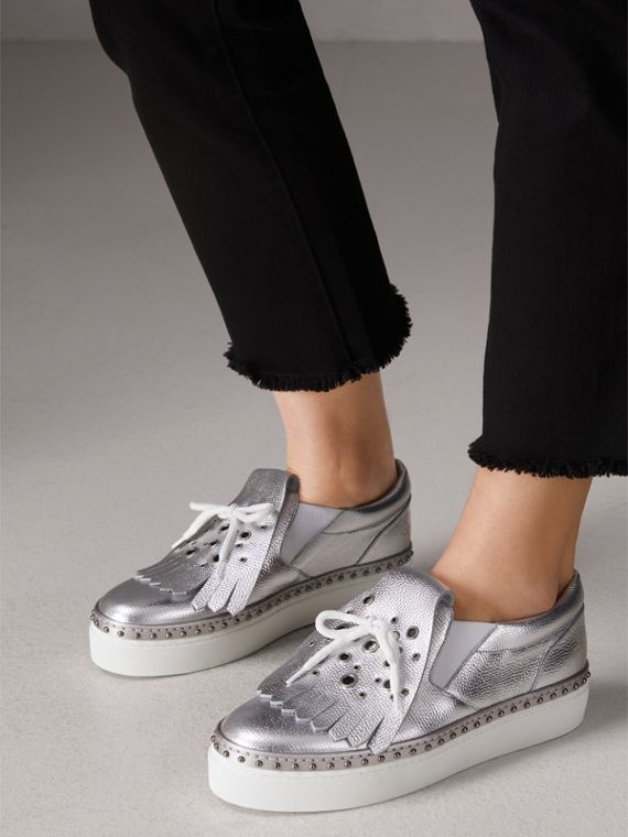 Kiltie Fringe Metallic Leather Trainers in Silver - Women | Burberry Singapore - cell image 2