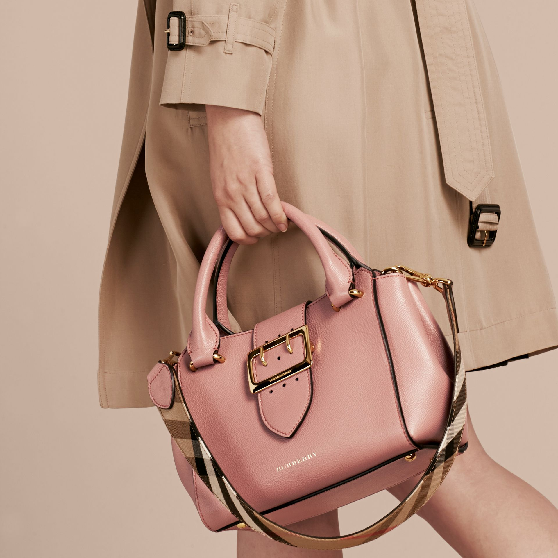 The Small Buckle Tote in Grainy Leather Dusty Pink - gallery image 4